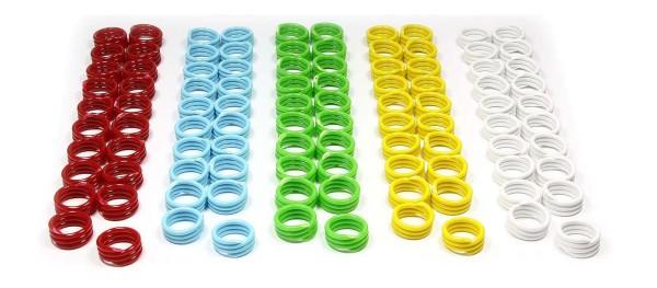 Spiral-Ringe aus Kunststoff, 16 mm, 100 St. gemischt in 5 Farben
