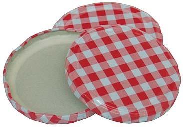 Deckel für Sturzgläser, 45 Stück, rot/weiß