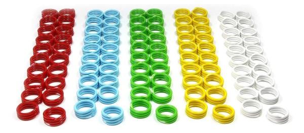 Spiral-Ringe aus Kunststoff, 18 mm, 100 St. gemischt in 5 Farben