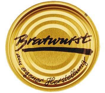 Deckel für Weissblechdosen, Bratwurst, 100 Stück
