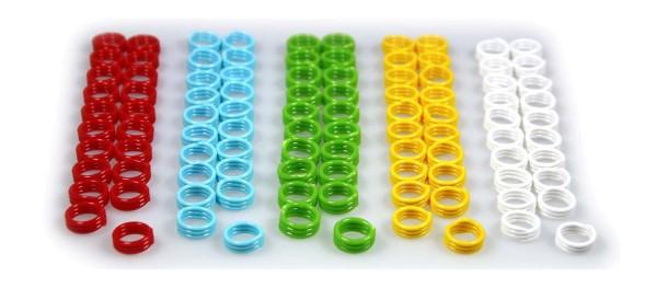Spiral-Ringe aus Kunststoff, 10 mm, 100 St. gemischt in 5 Farben