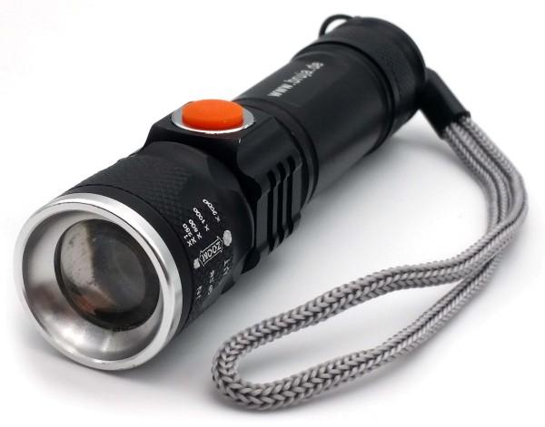 LED Zoom-Taschenlampe mit Akku und USB-Ladefunktion
