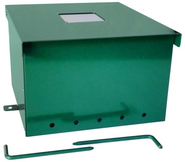Schalldämpferbox für Wühlmaus-Selbstschußgeräte