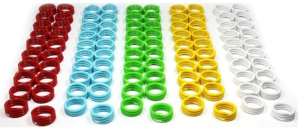 Spiral-Ringe aus Kunststoff, 20 mm, 100 St. gemischt in 5 Farben